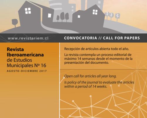 Convocatoria para la edición 16 de la Revista Iberoamericana de Estudios Municipales