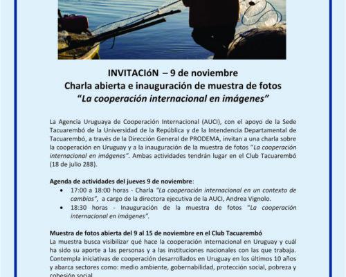 """Charla abierta e inauguración de muestra de fotos  """"La cooperación internacional en imágenes"""""""