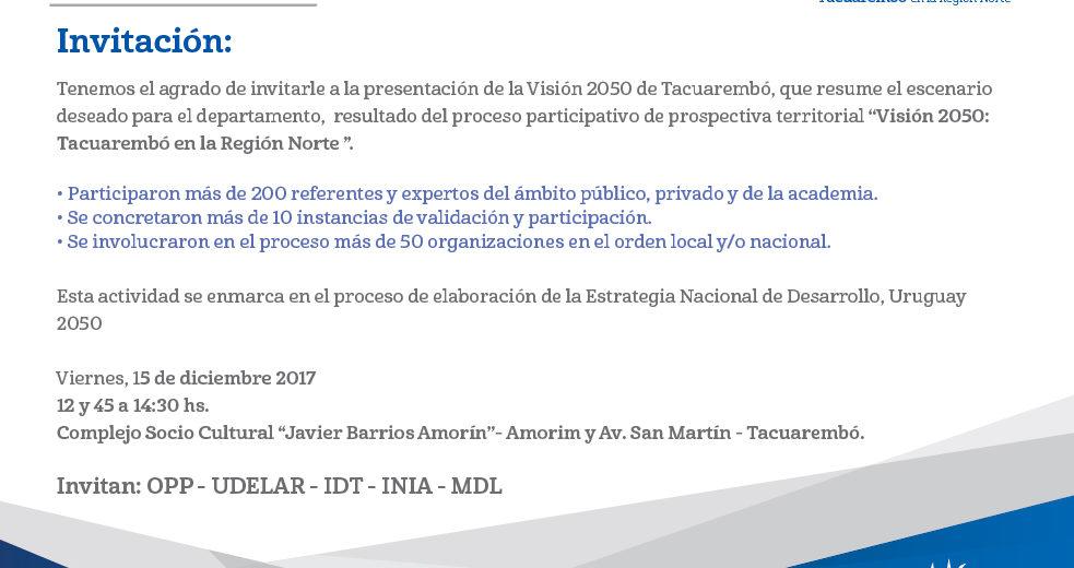 Visión 2050: Tacuarembó en la región norte del país – Viernes 15 de diciembre – Tacuarembó