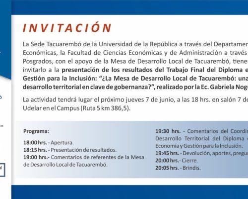 """Seminario: """"La mesa de Desarrollo Local de Tacuarembó:¿una estrategia de desarrollo territorial en clave de gobernanza?"""""""