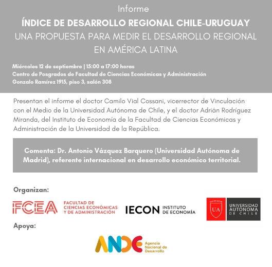 Invitación presentación Índice de Desarrollo Regional