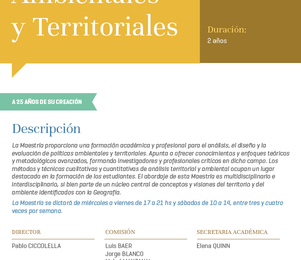 Maestría en Políticas Ambientales y Territoriales – Facultad de Filosofía y Letras de la Universidad de Buenos Aires