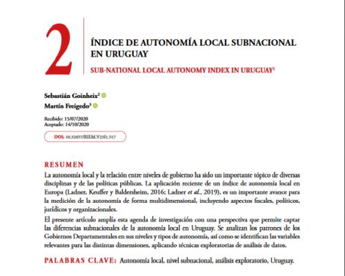 Índice de Autonomía Local subnacional en Uruguay